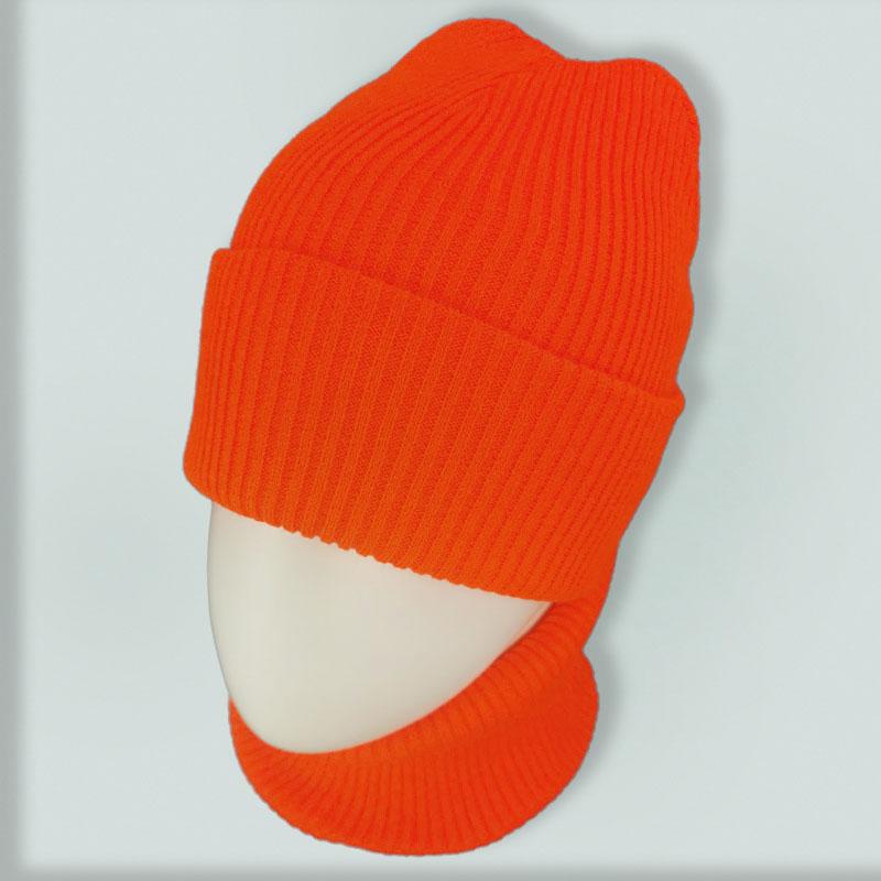 зд1227-38 Комплект шапка/снуд вязаный лапша Basic неоновая морковь