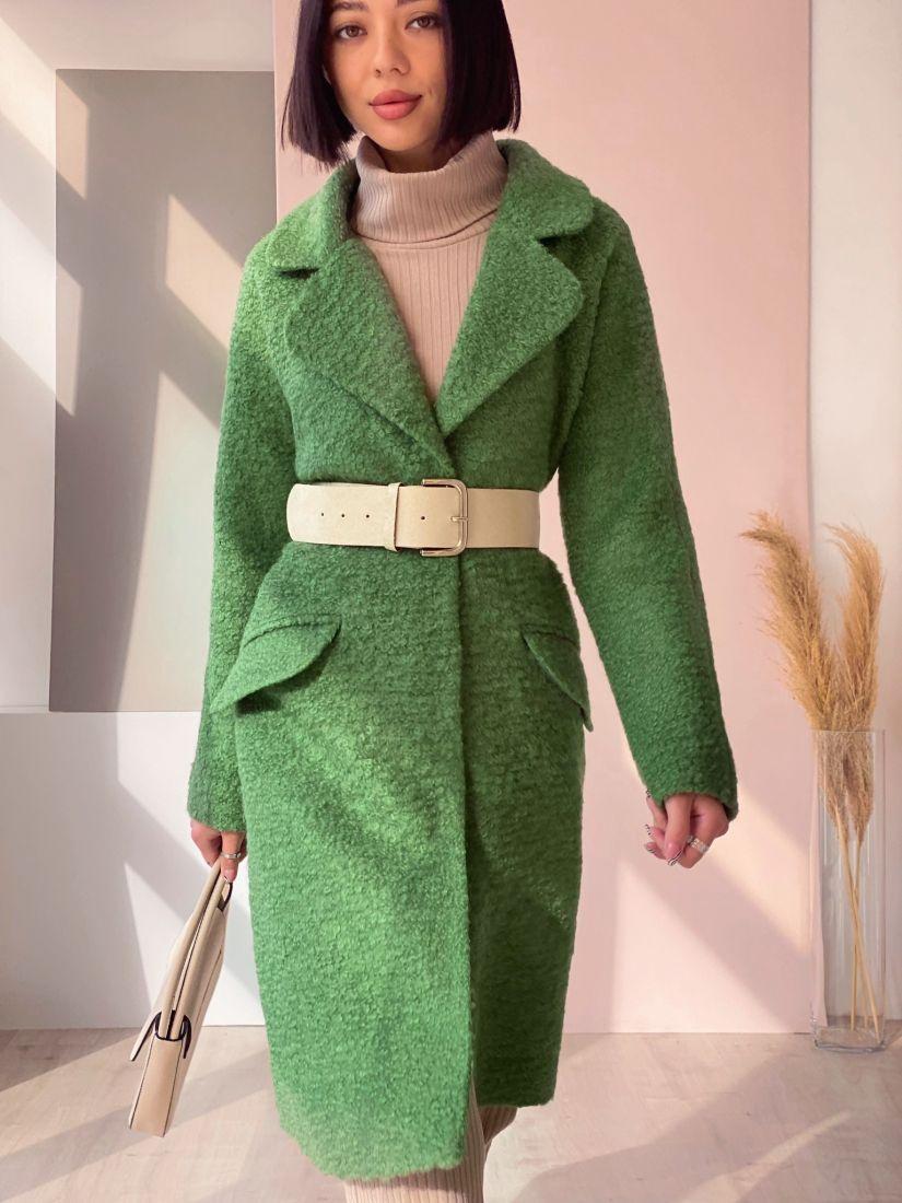 4503 Пальто new cocoon зелёное