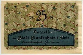 Германия. Нотгельд г. Бланкенхайн 25 пфеннигов 1921
