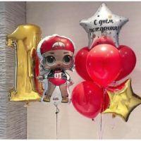 Композиция из фонтанов шаров с куколкой LOL и цифрой