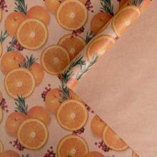 Бумага упаковочная крафтовая «Мандарины», 50 × 70 см упак 10 лист