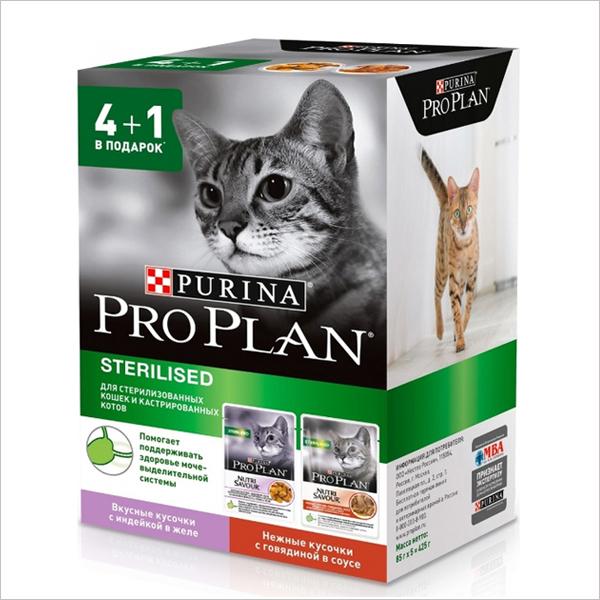 Влажный корм для стерилизованных кошек Pro Plan Nutrisavour Sterilised с индейкой и говядиной