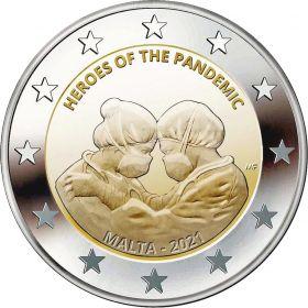 Герои пандемии  2 евро Мальта 2021 BU Блистер на заказ