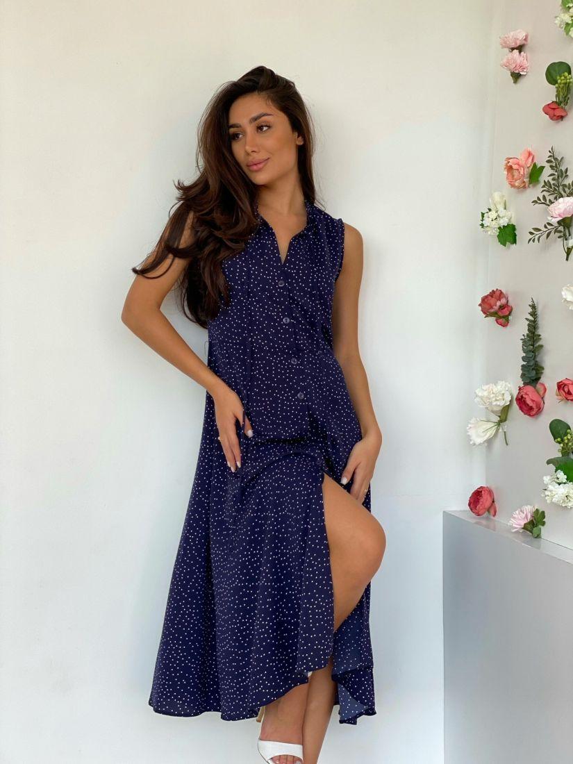 4525 Платье на пуговичках синее в горошек