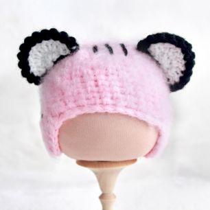 Вязаная шапочка Тигренок розовый пушистый