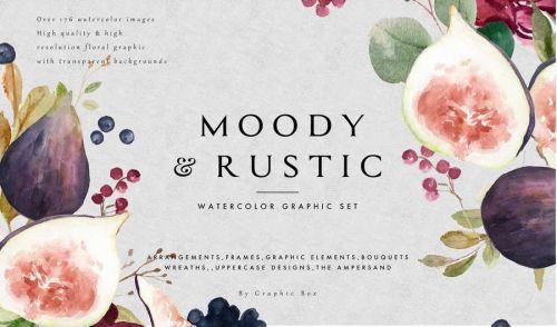 [Creative Market] Moody & Rustic-Watercolor Graphic Set (Graphic Box)
