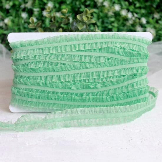 Тесьма резинка-рюш двусторонняя, мятная 25 мм.