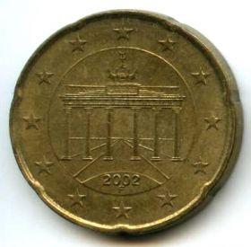 Германия 20 евроцентов 2002 F