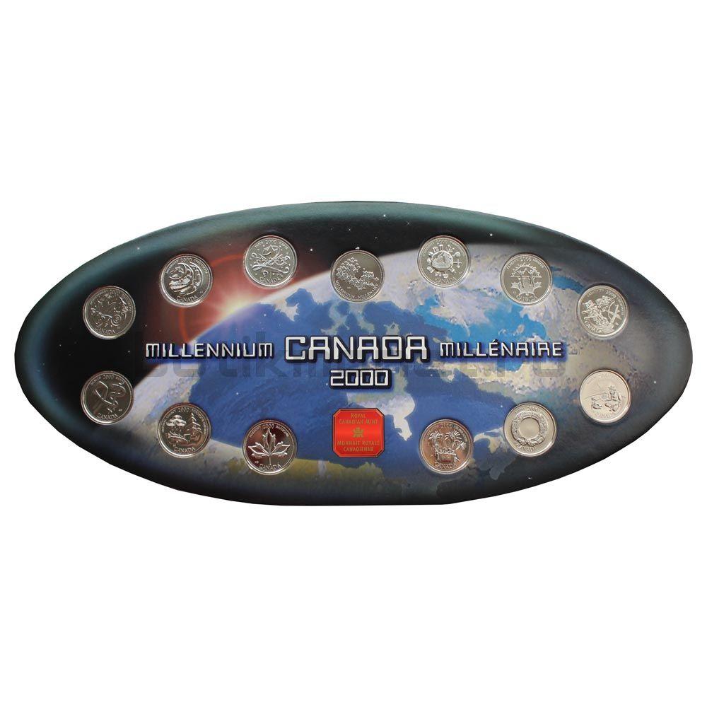 Набор монет 25 центов 2000 Канада Миллениум в буклете