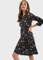 """Платье """"Алиша"""" для беременных и кормящих; цвет: черный/цветы"""