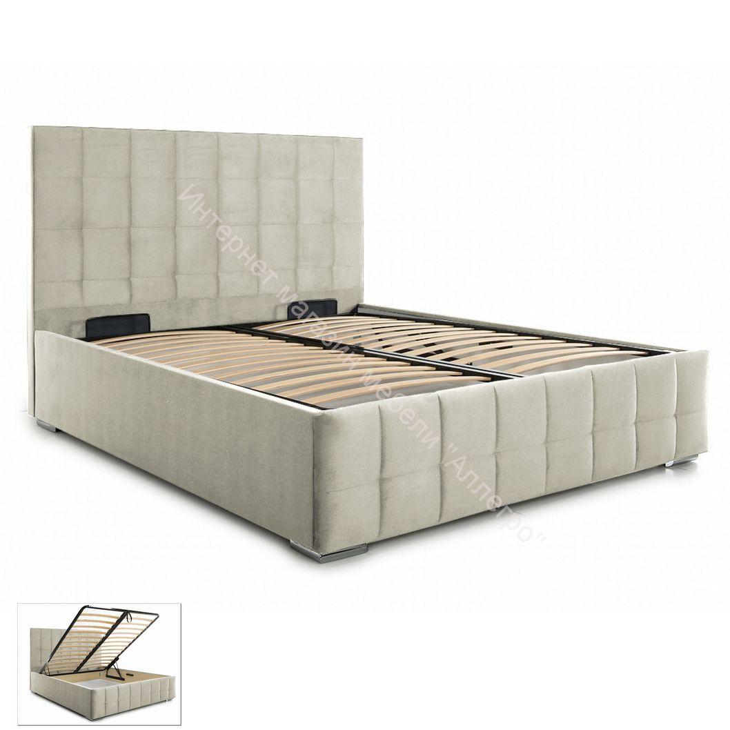 Кровать Пассаж 2 (180х200) с ПМ (Mika 2 (велюр) бежевый)