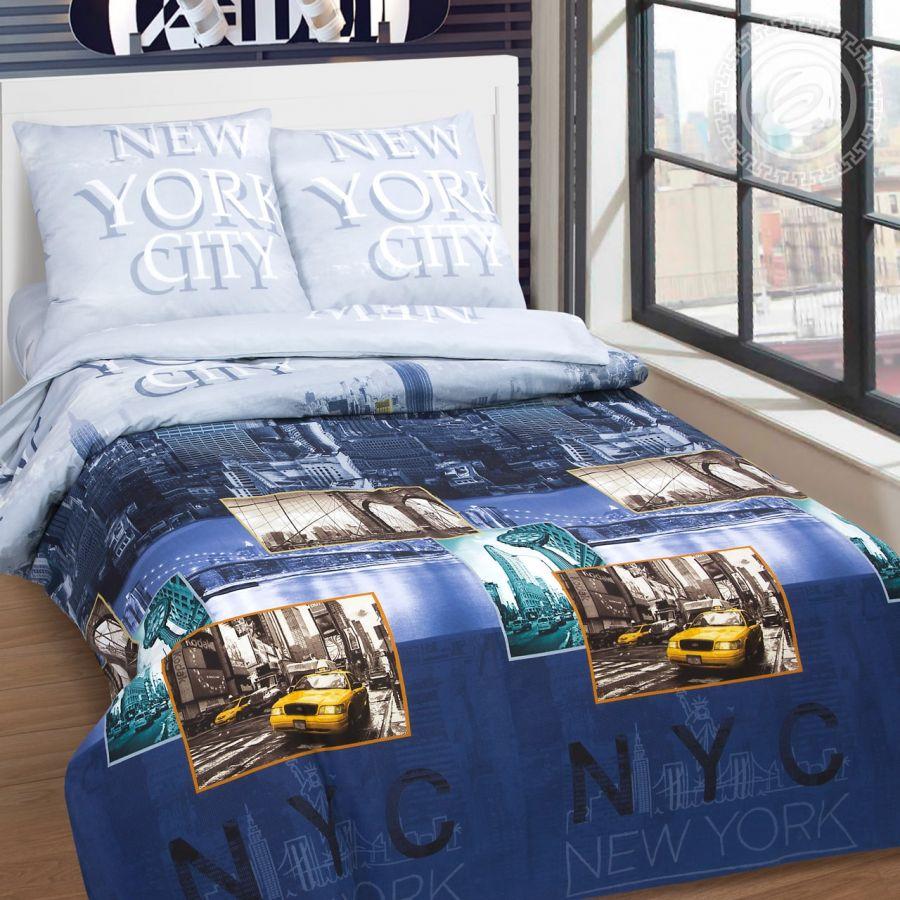 «Нью-Йорк» (DE LUXE) постельное белье Поплин 2-х спальный с евро