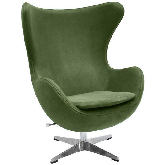 Кресло EGG CHAIR зеленый, искусственная замша