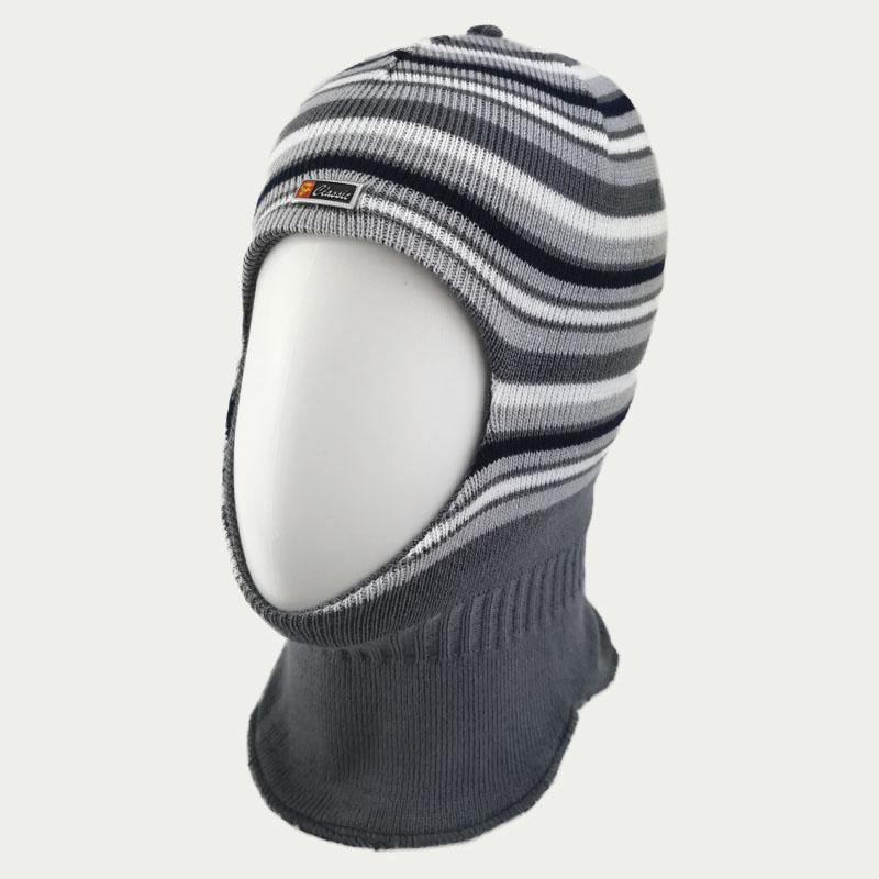 зм1218-56 Шлем вязаный двойной Полоски стальной