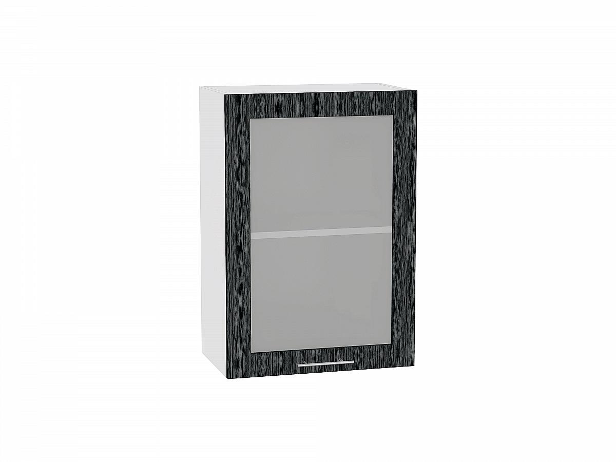 Шкаф верхний Валерия В500 со стеклом (чёрный металлик дождь)