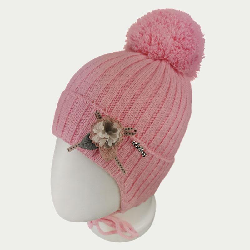 зд1248-47 Шапка вязаная с отворотом на завязках Love розовая