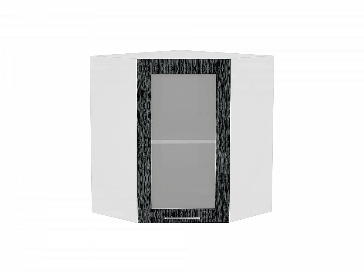 Шкаф верхний угловой Валерия ВУ590 со стеклом (чёрный металлик дождь)