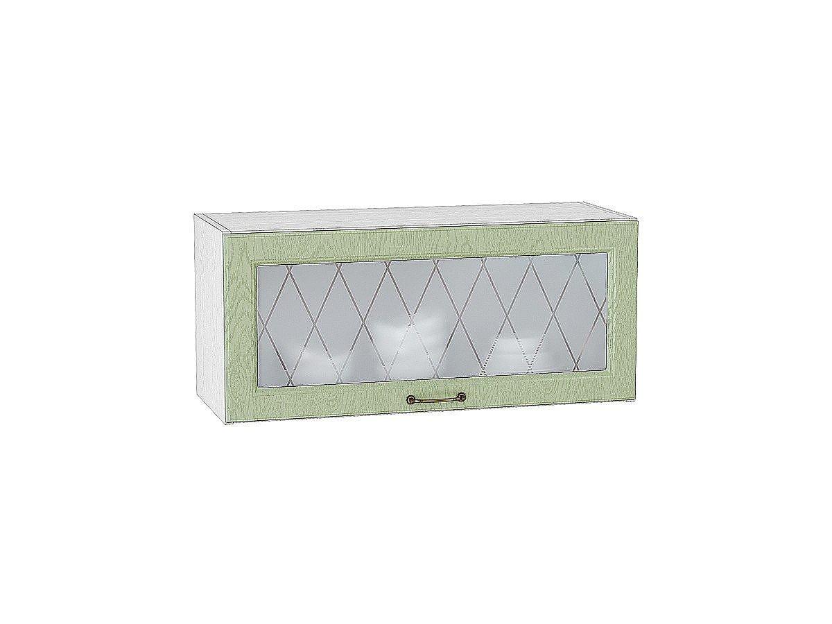 Шкаф верхний горизонтальный Ницца ВГ800 со стеклом (дуб оливковый)