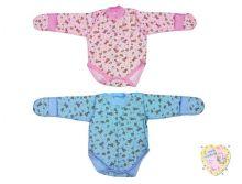 """Боди для новорожденных с длинным рукавом и царапками XC-BD137-ITp (интерлок-пенье, розовый и голубой) код товара 01556 """"Мамин Малыш"""""""