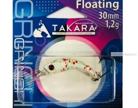 Воблер Takara Grinch 30F 3см/ 1,2гр/ Загл. 0,0-0,3/ #716