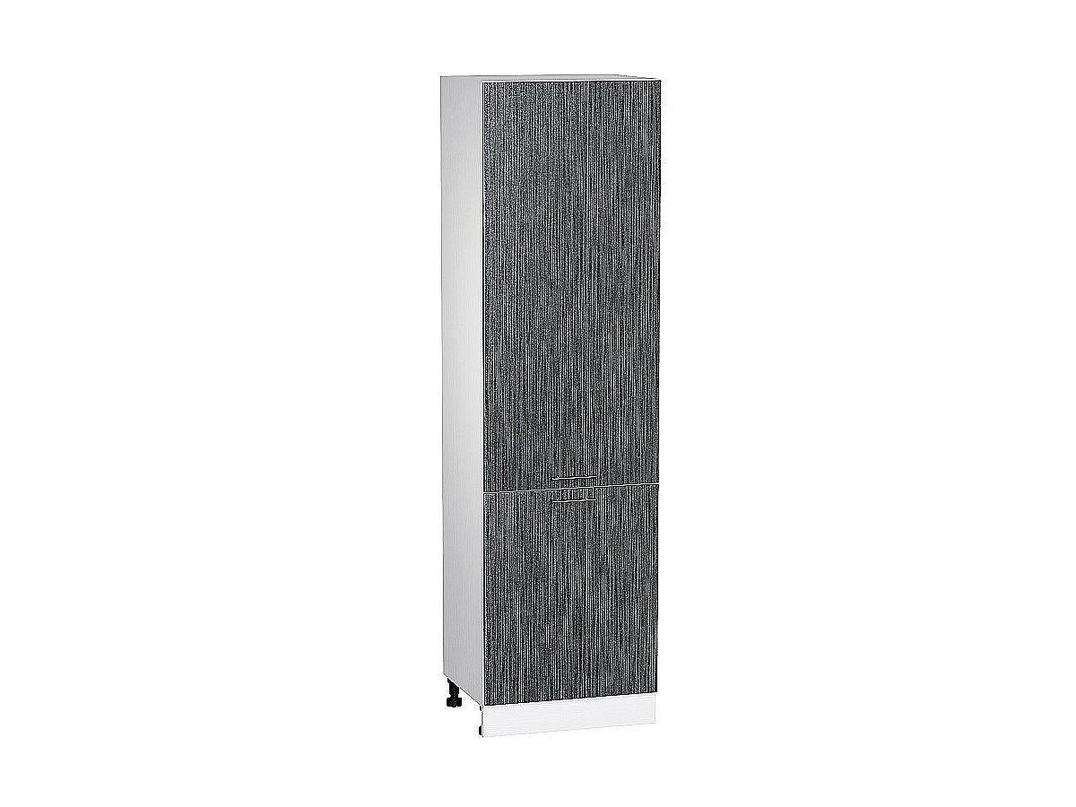 Шкаф пенал с 2-мя дверцами Валерия ШП600 (чёрный металлик дождь)