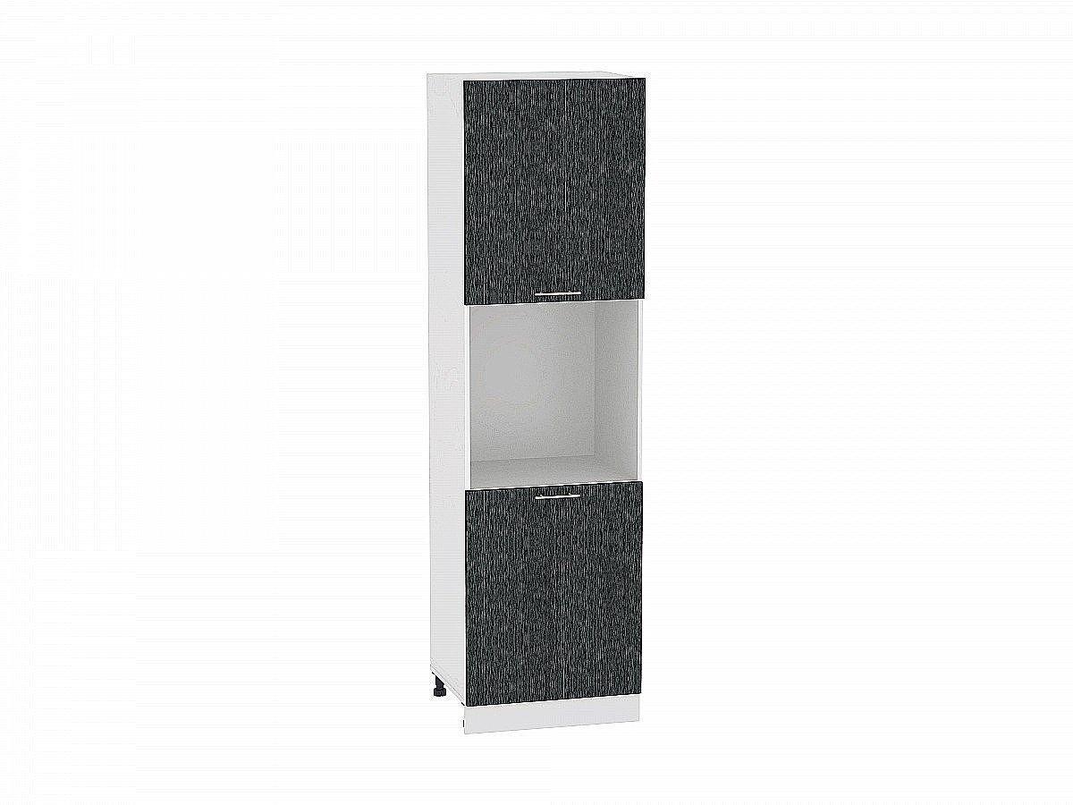 Шкаф пенал с 2-мя дверцами Валерия ШП600Н-Ф47 (чёрный металлик дождь)