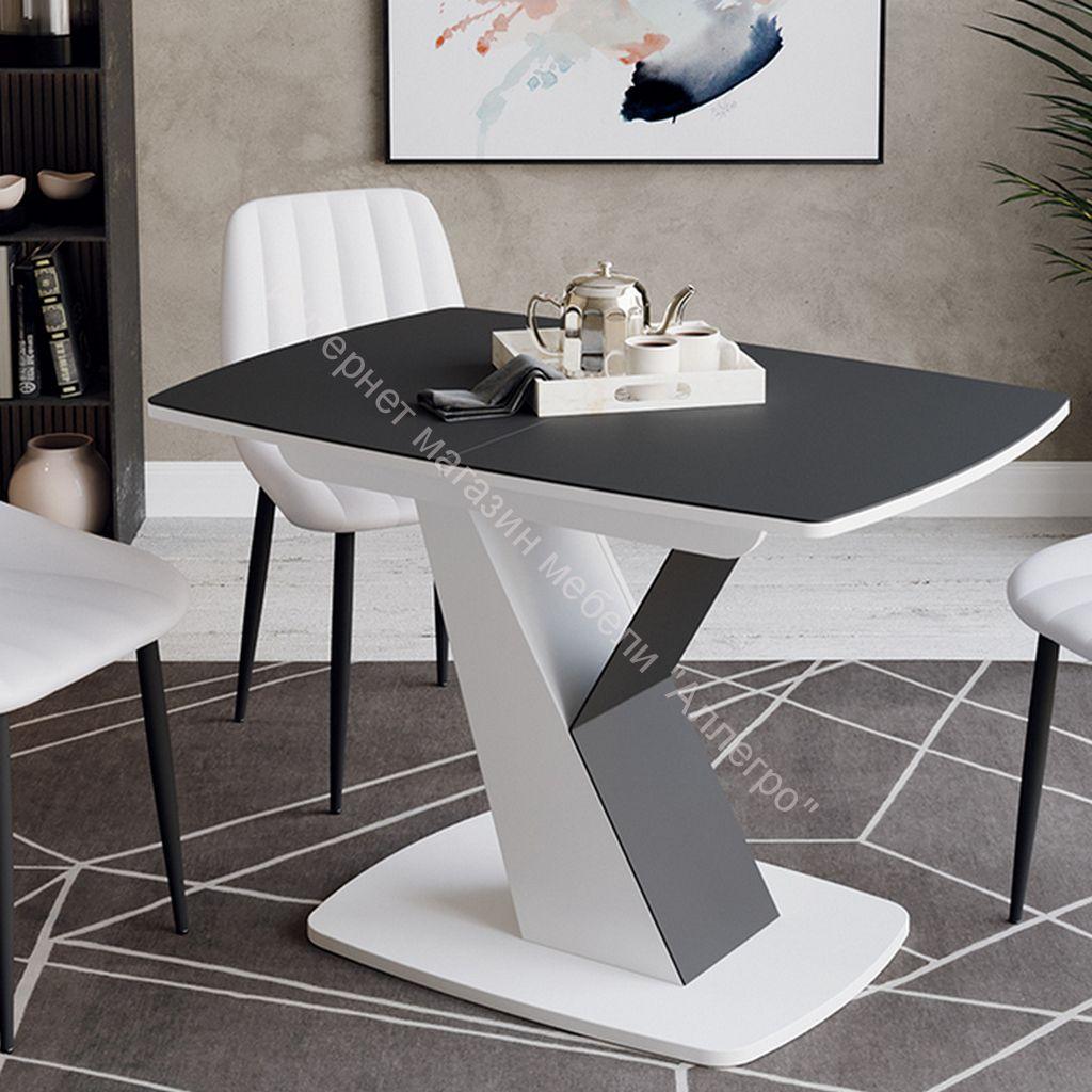 Стол обеденный «Гарда» Тип 1 (Белый/Стекло матовое черный графит)