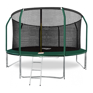 Батут премиум с внутренней страховочной сеткой и лестницей Arland 14FT (Dark green)