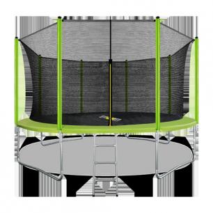 Батут с внутренней страховочной сеткой и лестницей Arland 14FT (Light green)