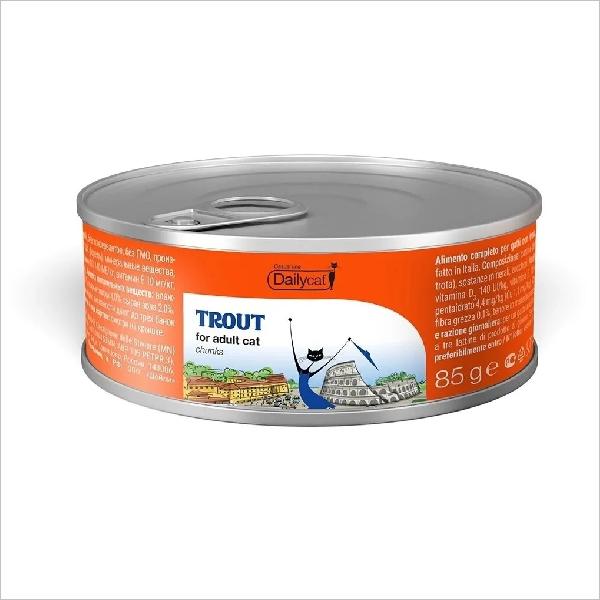 Влажный корм для кошек DailyCat Casual Line Trout кусочки в желе с форелью 85 гр