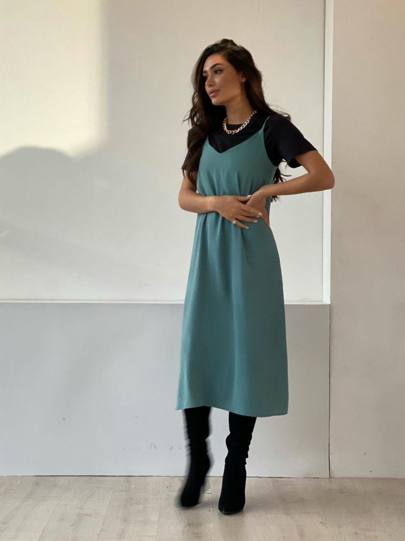 4882 Платье-комбинация с краш-эффектом в цвете морской волны