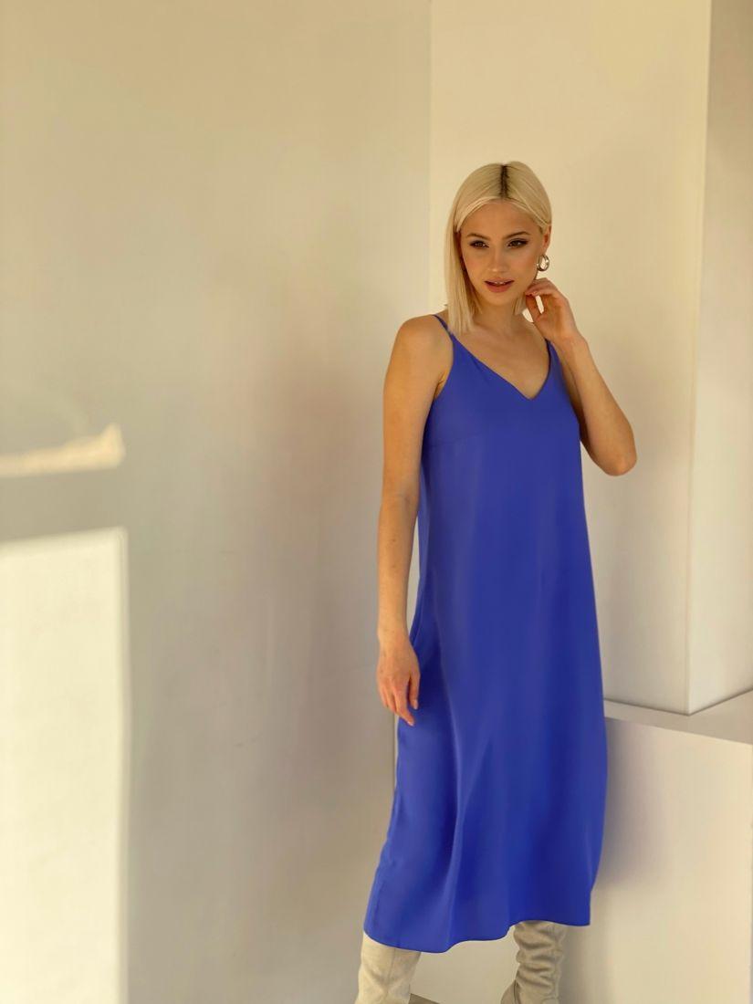 4893 Платье-комбинация с краш-эффектом cornflower