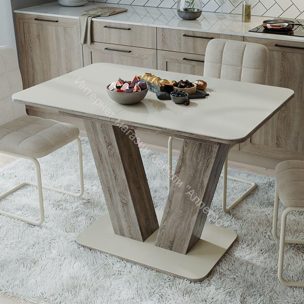 Стол раздвижной «Чинзано» Тип 1 (Дуб сонома трюфель/стекло бежевое матовое)