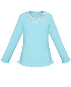 77124 Блузка голубая дл девочки с белым кружевом Радуга дети