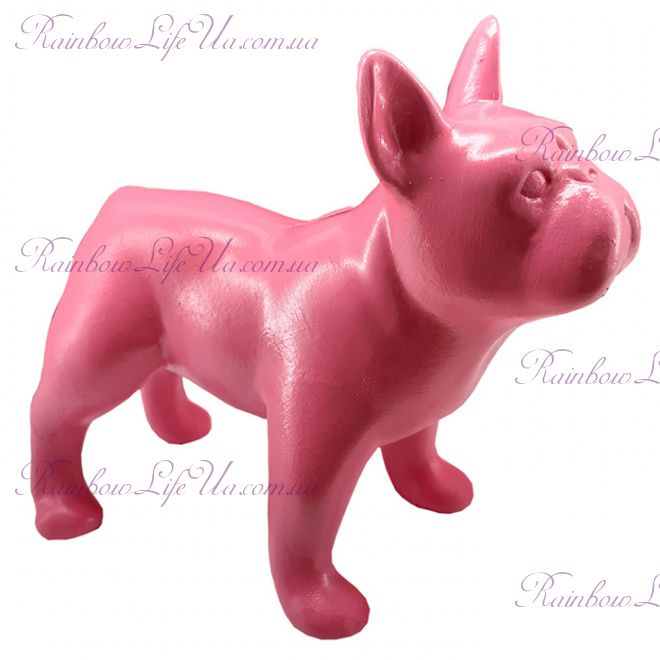 "Фигурка собака ""Французский бульдог стоячий"" розовый"