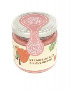 Крем-мед с клубникой 220 гр, стеклянная банка