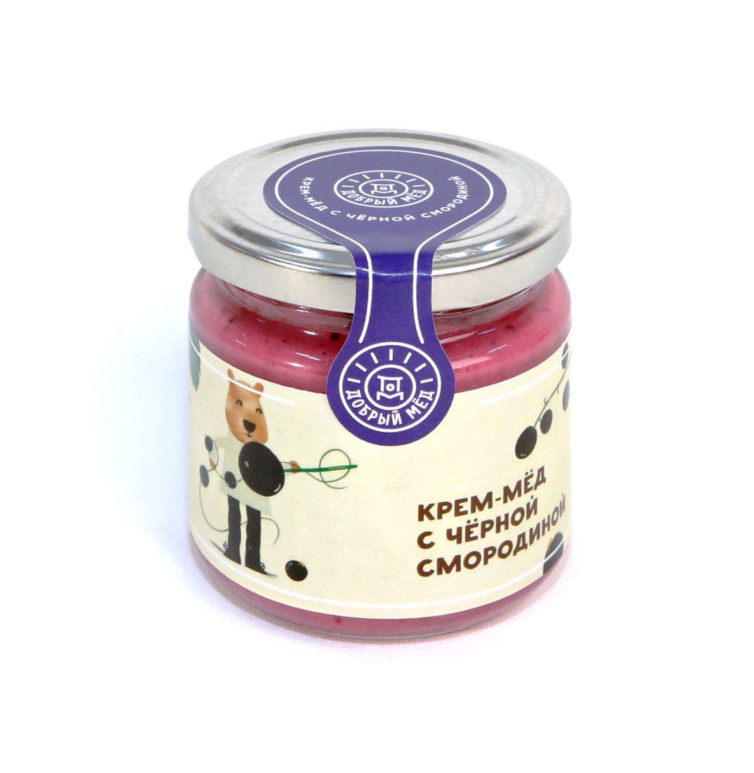 Крем-мед с черной смородиной 220 гр, стеклянная банка