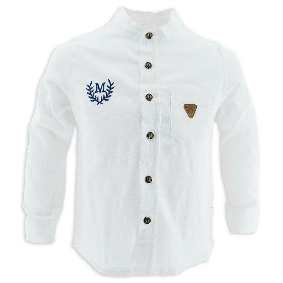 """Рубашка с длинным рукавом """"М"""" для мальчика 2-5 (белый)"""