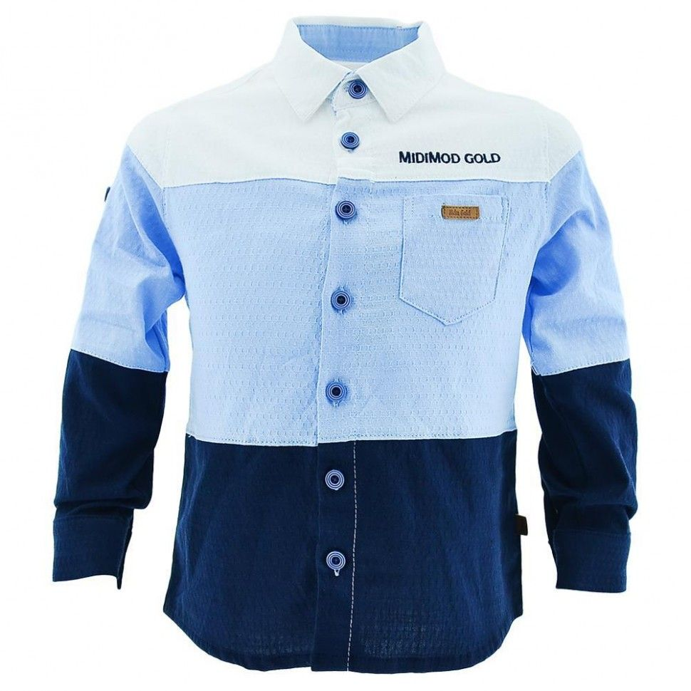 """Рубашка с длинным рукавом """"МIDIMOD GOLD"""" для мальчика 2-5 (белый, голубой, черный)"""