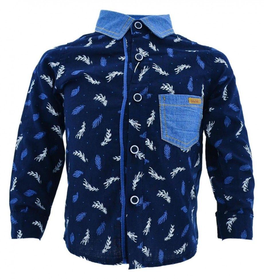 Рубашка с длинным рукавом и принтом для мальчика 6-12 (синий)