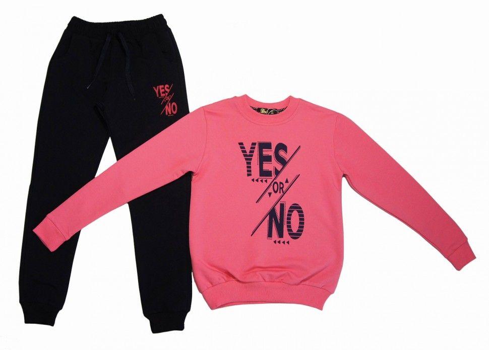 """Спортивный комплект """"YES or NOT"""" для девочки : свитшот, брюки 13-16 (розовый)"""