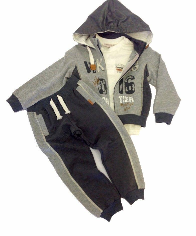 Комплект для мальчика: куртка, лонгслив, брюки (серый)