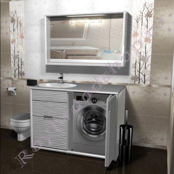 """Тумба для ванной под стиральную машину """"Глосси-1"""" белая"""
