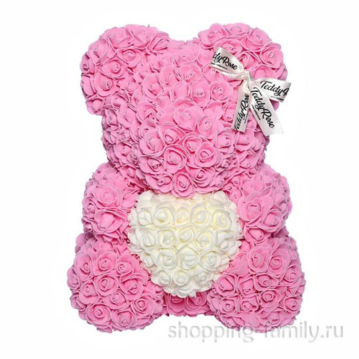 Розовый Мишка из роз с сердцем,  40 см