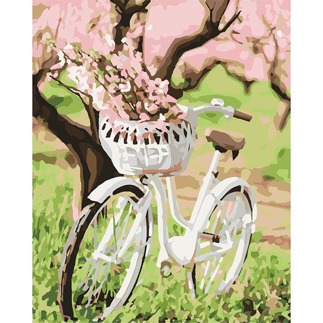 Роспись по холсту Велосипед с корзиной цветов 40х50см