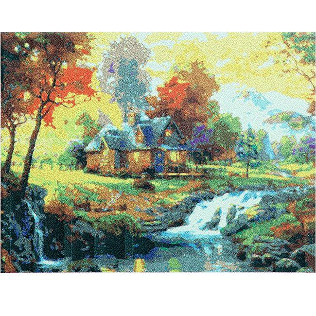 Роспись по холсту Дом в солнечном лесу  40х50см