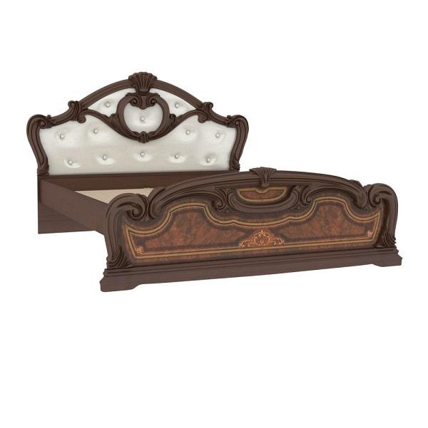 Кровать 1600 с мягкой спинкой «Гранда Орех»