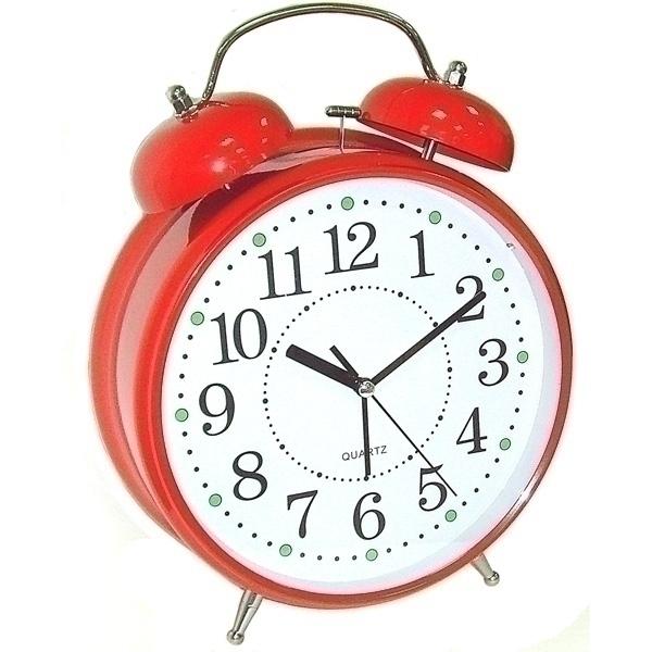 Часы Будильник Гигант красного цвета с подсветкой