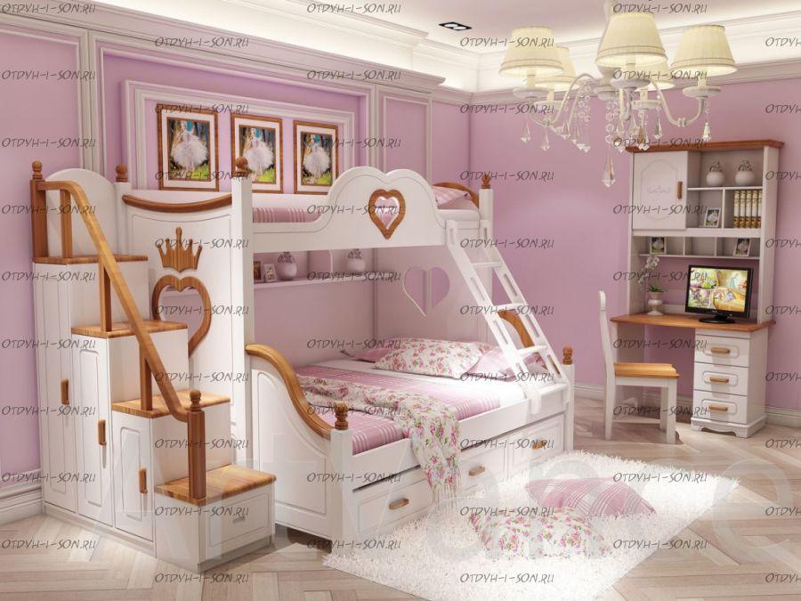 Кровать двухъярусная Принцесса №K01