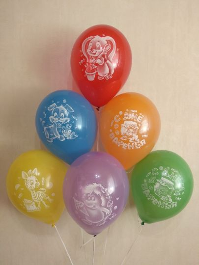 С Днем Варенья Зверушки-Игрушки латексные шары с гелием
